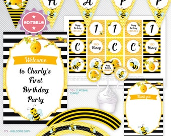 Bumble bees - yellow editable printable party decoration package - INSTANT DOWNLOAD - A4 & LETTER