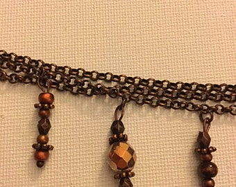 Copper Toned Beaded Bracelet Fall Autumn