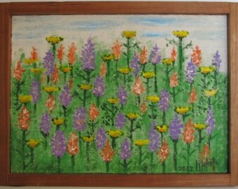SPRING BLOOMS Original Painting Handcrafted Frame 11x8.25 No.401