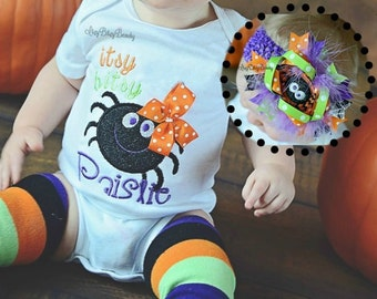 Itsy Bitsy Spider - Halloween Shirt Or Bodysuit - Itsy Bitsy Spider Oitfit - My First Halloween Outfit - Leg Warmers - Headband