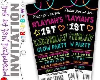 823: DIY - Glow In The Dark 6 Party Invitation Or Thank You Card