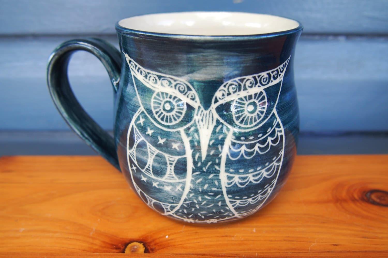 Unique coffee mug handmade ceramic coffee mug owl mug blue for Blue mug designs