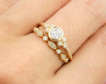 Yellow gold engagement ring set, 0.32ct F SI 3EX GIA certified diamond ring, diamond eternity ring, Unique wedding ring, 14k gold, ado-r101