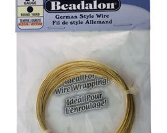 Beadalon German Style Wire 24ga Round Gold Color 12 Meter Coil (WR5524G)