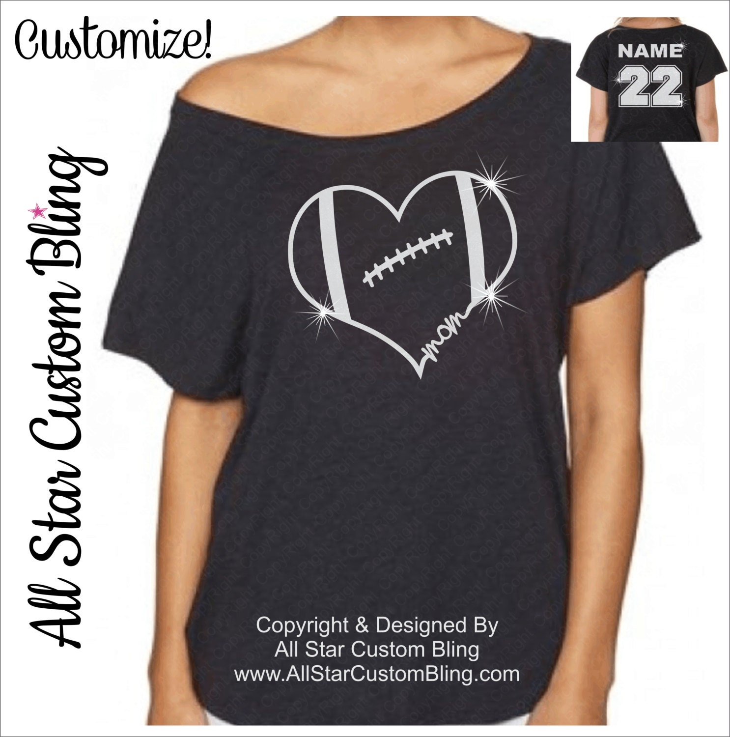 Custom glitter football mom heart off shoulder shirt football for Personalized football t shirts