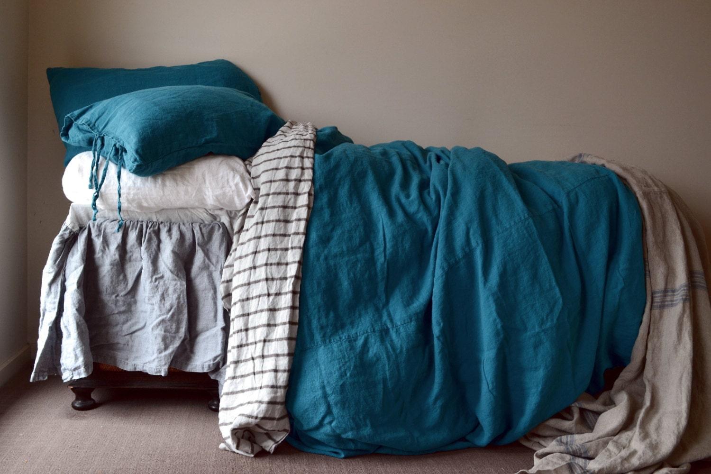 Dark teal rustic heavy weight duvet cover linen duvet cover - Housse couette bleu canard ...