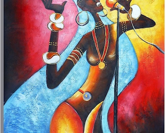 African American Singer - Signed Hand Painted Figurative Oil Painting On Canvas