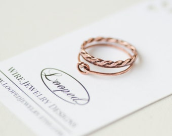 Copper Twist Ring Simple Stacking Ring Copper Braided Ring