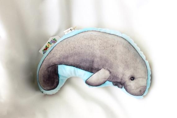 Ocean Animal Pillows : Manatee animal pillow. Sea ocean nautical nursery decor.