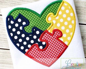 Autism Heart Awareness Support Digital Machine Embroidery Applique Design 4 sizes, autism applique, puzzle applique, puzzle heart applique