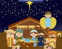 Nativity Scene Clip Art, Christmas Nativity Clipart, Navidad clipart, Christmas Background Clipart, Nativity Set, Nacimiento. Angel.
