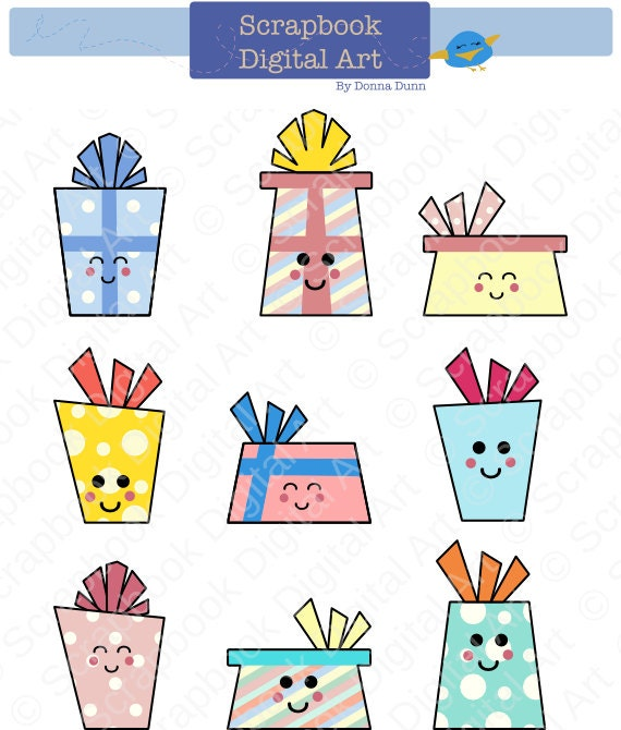 Kawaii Presents Clip Art Birthday Gifts Gift Boxes Clip Art
