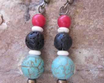 bohemian earrings black lava stone white bone beads red & turquoise earrings antiqued gold boho chic  moroccan  dangle  drop  yoga earrings