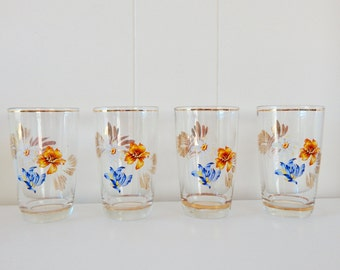 Pretty Vintage Floral Drinking Glasses - Set of 4
