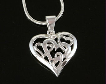 Sterling Silver Pendant, Silver Heart Pendant, Silver Filigree Heart Necklace, 925 Silver Pendant, Valentine's Gift for Her, UK Seller