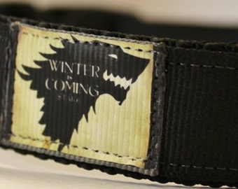 House Stark/Game of Thrones inspired Dog Collar/Cat Collar/Animal/Adjustable/Wolf/Winter is Coming