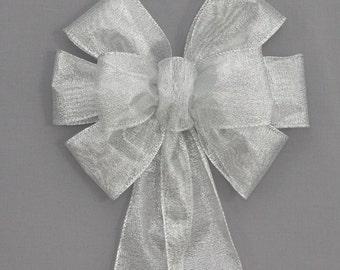 Silver Metallic Christmas Bow   Christmas Wreath Bow, Christmas Garland Bow,  Christmas Tree Bow