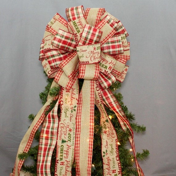 Rustic Plaid Merry Christmas Burlap Christmas Topper