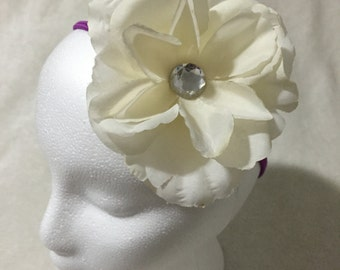White and purple flower headband