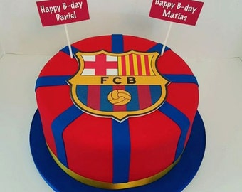 "7"" Edible Barcelona, Real Madrid, Manchester United or any soccer logo cake decoration + name tag"