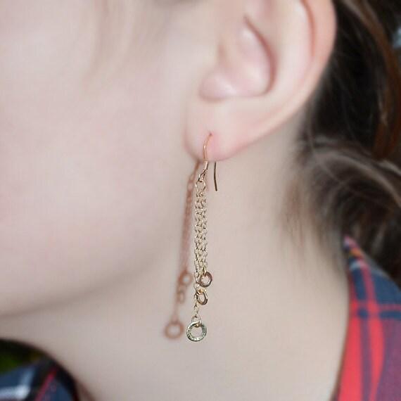 14k Gold Filled Dangle Earrings - Long Drop Earrings - Gold Dangling Earrings - Stud Drops