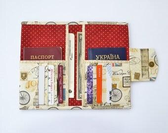 Travel wallet, Family passport holder, Travel document holder, Travel document organizer, Paris print, Vegan wallet, Boarding pass holder