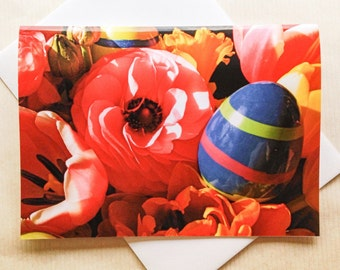 Easter Card - Floral Easter Card - Flowers & Egg Easter Card