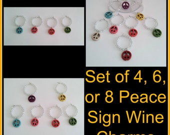 Set of 4, 6, or, 8 Peace Sign Wine Charms