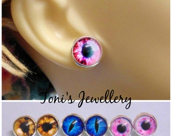 Glass Eye Earring Studs - Silver Plated, Cabochons - 12mm