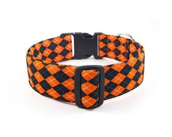 Halloween Dog Collar // Size S-XL // Adjustable Length // Fabric: Black and Orange Argyle