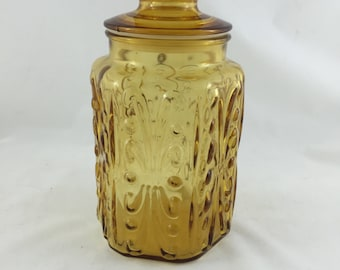 Tall Amber Canister Imperial Glass Atterbury Scroll, Apothecary Jar