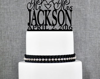 Mr and Mrs Buck and Doe Heart Last Name Wedding Topper with Date, Unique Personalized Cake Topper, Modern Mr and Mrs Cake Topper- (T239)