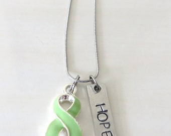 Lime Green Customizable Awareness Ribbon Stainless Steel Charm Necklace with Optional Add On Charms