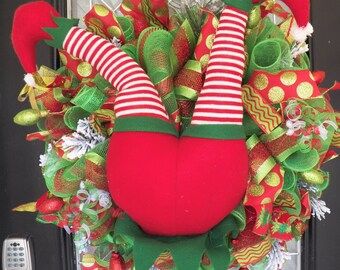 Christmas Wreath, Deco Mesh Wreaths, Elf Wreath, Christmas decoration, Holiday wreaths, Front door wreath, door hanger, RAZ