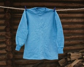 NEW Soviet Thermal Top / 1970's NOS Unworn Vintage Thick Blue Fleece Long Sleeve Top / Very Warm Thermal SweatShirt, Base Layer, Size SMALL
