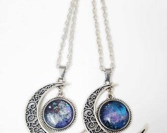 Galaxy, Moon pendant, Antique Silver Moon Nail Polish Pendant, Hand painted Nail Polish Jewelry, Polish Pendant, Glass Pendant