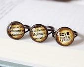 Sherlock Holmes Conan Doyle | Prenota con anelli | tono argento o bronzo | Vintage