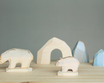 Polar bear with baby MINIATURE, wooden toy, play kit,, eco-friendly toy