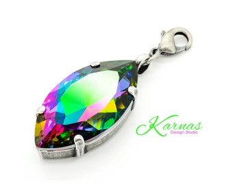 CRYSTAL ELECTRA 32x17mm Navette Crystal Pendant Made With Swarovski Elements *Pick Your Finish *Karnas Design Studio LARGE *Free Shipping