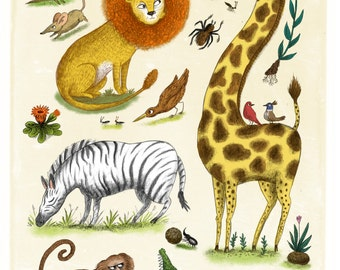 Savanna Animals Print, Natural History Wall Art