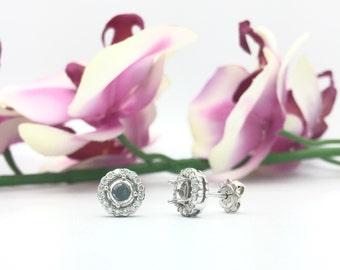0.55CTW Halo Diamond Semi Mount Earrings in 14K White Gold