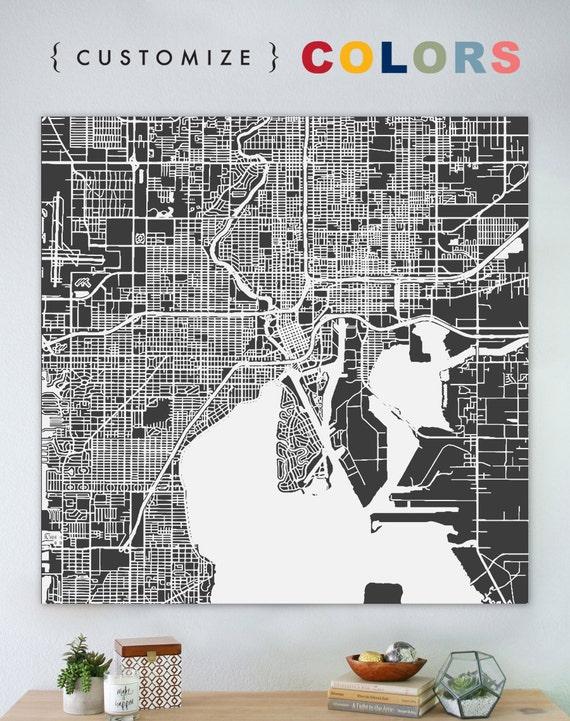 map of tampa large canvas city maps street map vintage. Black Bedroom Furniture Sets. Home Design Ideas