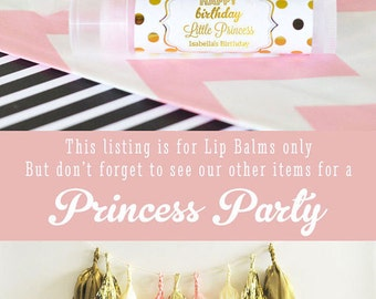 Princess Party Favors - Princess Birthday Party Favors - Pink and Gold Party Favors - 1st Birthday Princess Lip Balm (EB3031FY) set of 16|