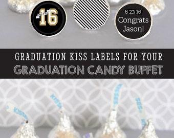 Graduation Hershey® Kiss Stickers Graduation Candy Stickers Graduation Candy Labels Graduation Candy Stickers - 108 PRINTED labels (EB4003G)
