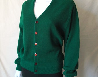 Vintage 70s The JC Penny Sweater Forest Green Cardigan Sweater