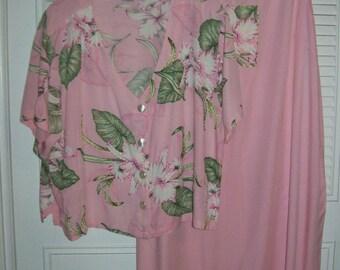 Muu Muu 1X,  Paridisio Pink Muu Muu and Jacket,  Orchids,  Beaded Trim , A Maxi -  Lovely 1X