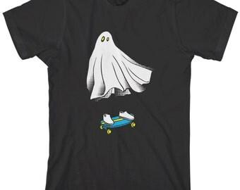 Ghost Skateboarder Men's T-shirt Funny Halloween Skater Phantom Haunted Boo Spirit Skateboard Rider - TA_00240
