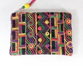 Repurposed Fabric Multicolor Embroidered Clutch Bag / Pink & Yellow Zip Pouch