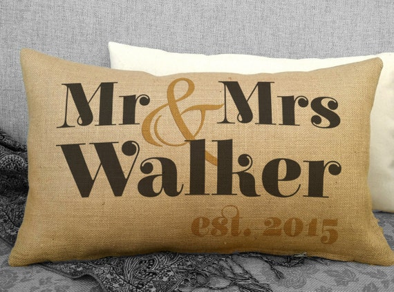Mrs Mrs Wedding Gifts: Rustic Mr And Mrs Wedding Pillow Personalized Wedding Gift