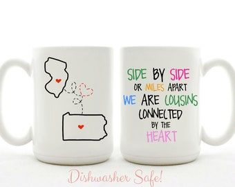Personalized Side By Side Or Miles Apart Mug - Trendy, Fun, Unique, Aunt, Sister, BFF, Cousins Gift, Christmas Gift, Moving Away Gift